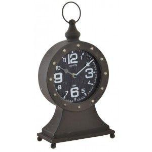 Reloj de mesa de metal en color café para decoración. Estilo Factory industrial 30 x 20 cm - Hogar y más