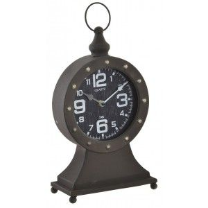 Table clock made of metal in brown color for decoration. Style Factory industrial 30 x 20 cm - Home and more