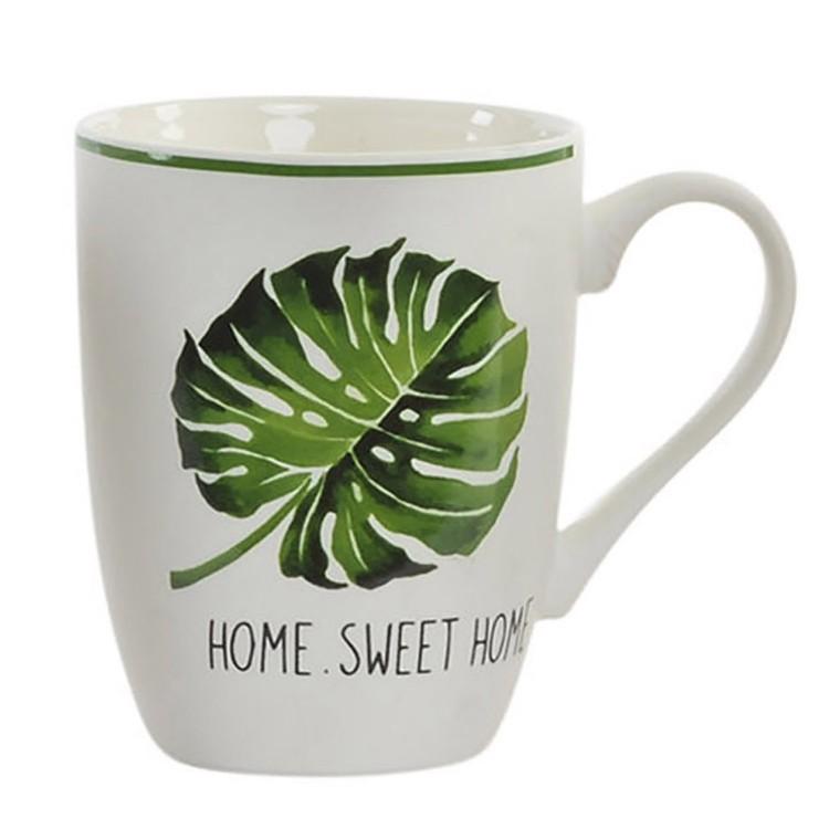 Taza para Desayuno con asa de Cerámica. Diseño natur Home Sweet Home 11.5 x 10.5 cm- Hogar y más