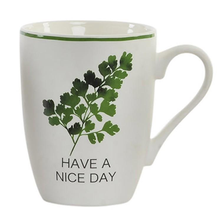 Taza para Desayuno con asa de Cerámica. Diseño natur Nice Day 11.5 x 10.5 cm- Hogar y más