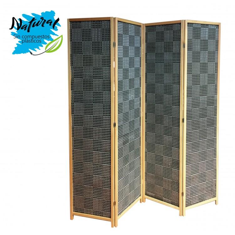 Biombo Negro/Gris Metalizado para Salón/Dormitorio. De madera Abeto Natural y Bambú. 180 x 180 cm