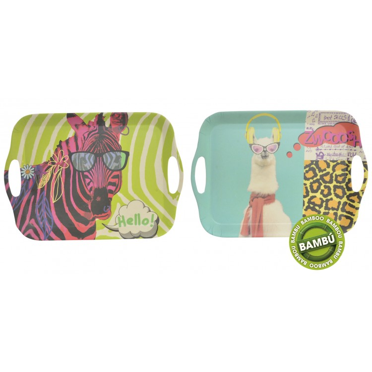 Bandeja con asas de bambú natural reciclado para servir. Diseño Animal Party de 36 x 26 cm - Hogar y más