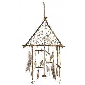 Atrapasueños colgante de madera natural y plumas para decoración. Modelo Tribal 37 x 70 cm. Hogar y mas.