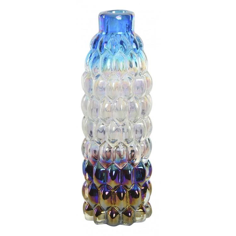 Jarrón decorativo para salón de cristal con Diseño irisdiscente y original 8 x 26 cm - Hogar y más