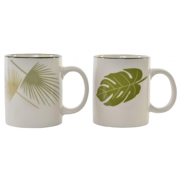 Taza blanca de cerámica mug para café o infusión. Diseño New Bone con hojas naturales 11.8 x 7.8 cm - Hogar y más