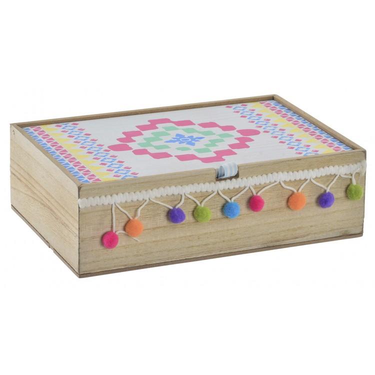 Caja de madera natural con borlas para joyas - Diseño Color - Hogar y más