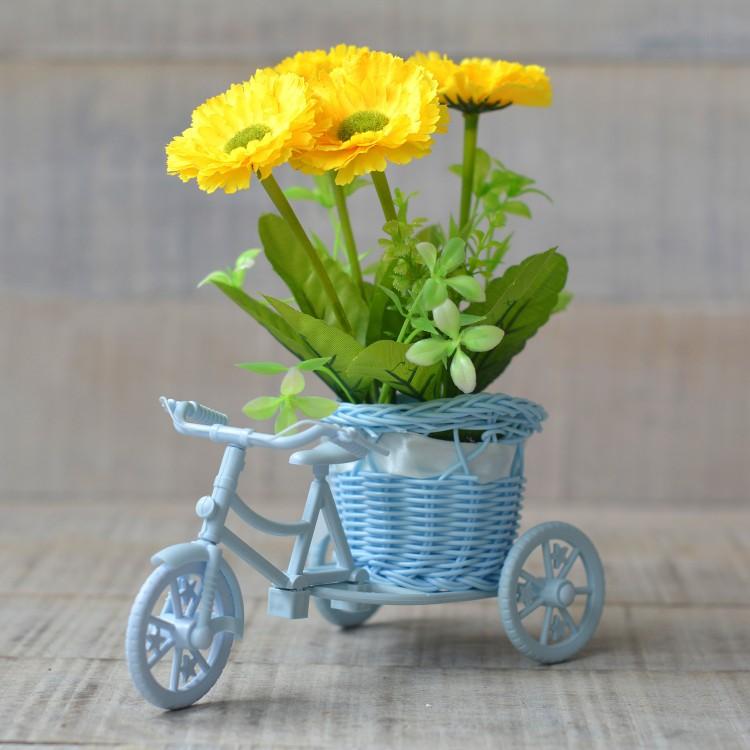 Macetero Bici Azul y Planta Artificial Dos Modelos Hogar y Más