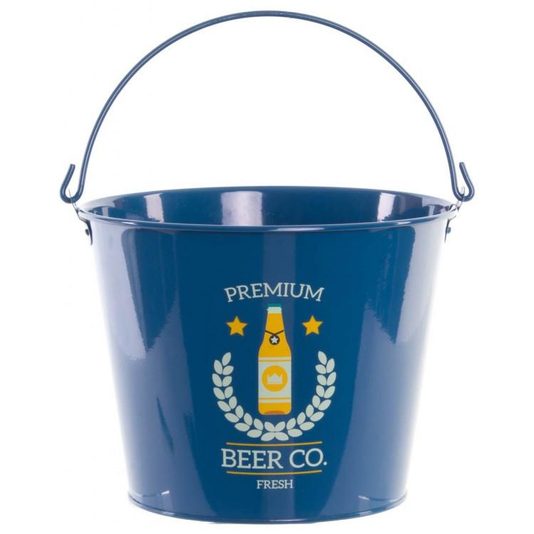 Cubo para cervezas color azul con asa de metal. Diseño Premium 23 x 18 cm - Hogar y más