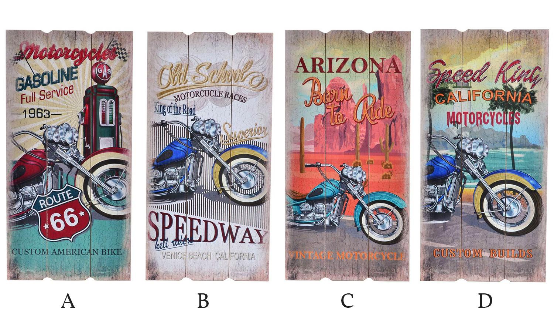 Cuadro de madera decorativo para pared con motos 30 x 60 cm - Route 66 - Hogar y más