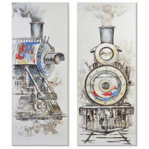 Cuadro de lienzo con locomotora para salón/dormitorio 60 x 150 cm Diseño Vanguardista - Hogar y más