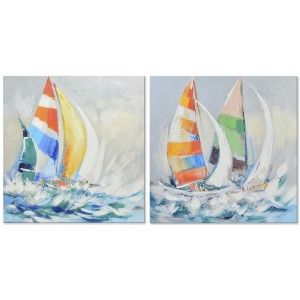 Table decorative canvas with a drawing of a sailing boat - Home and more