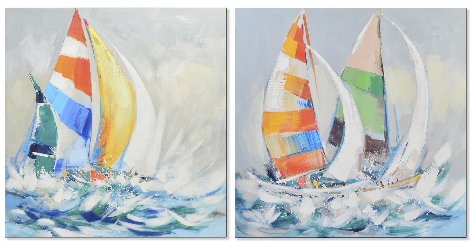 Cuadro decorativo de lienzo con dibujo de un barco de vela - Hogar y más