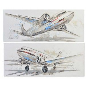Box canvas of aircraft hand-painted decoration 150 x 60 cm - Home and more