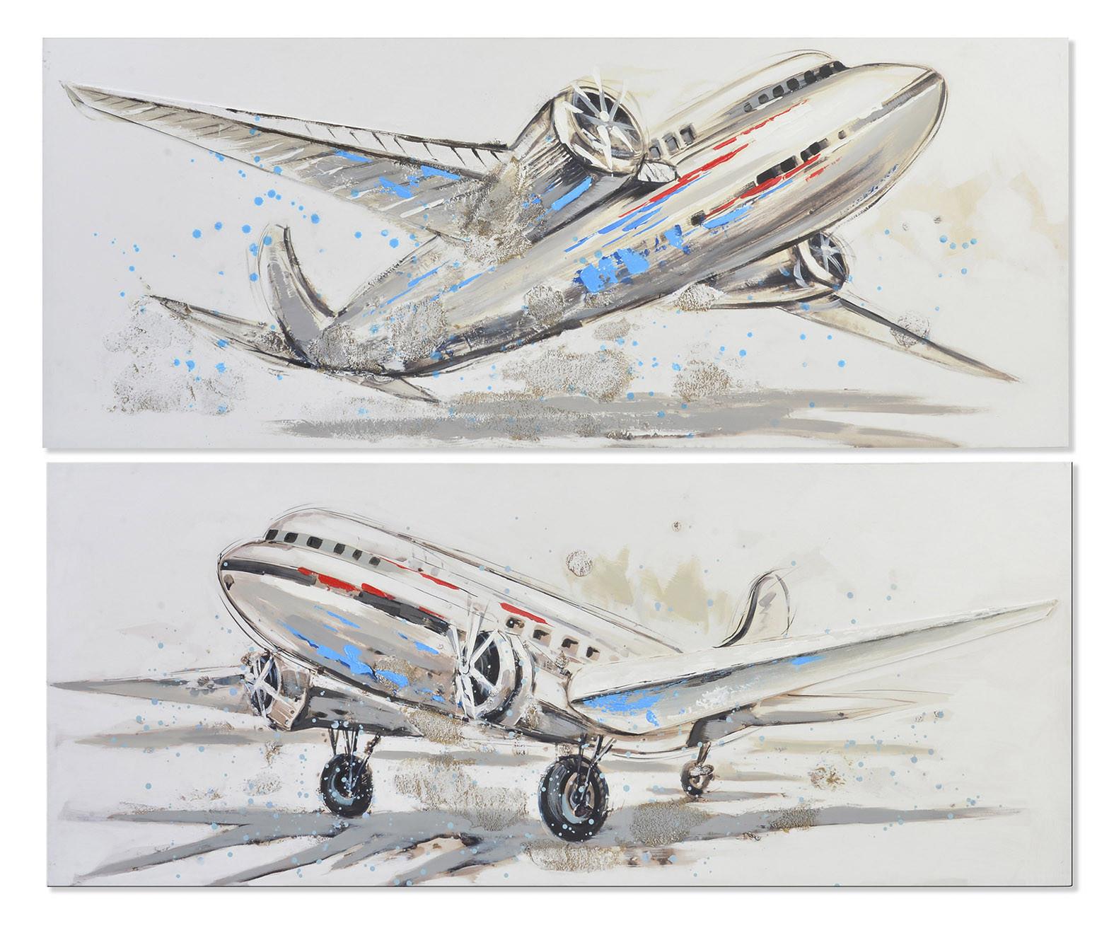 Cuadro de lienzo de aviones pintado a mano para decoración 150 x 60 cm - Hogar y más