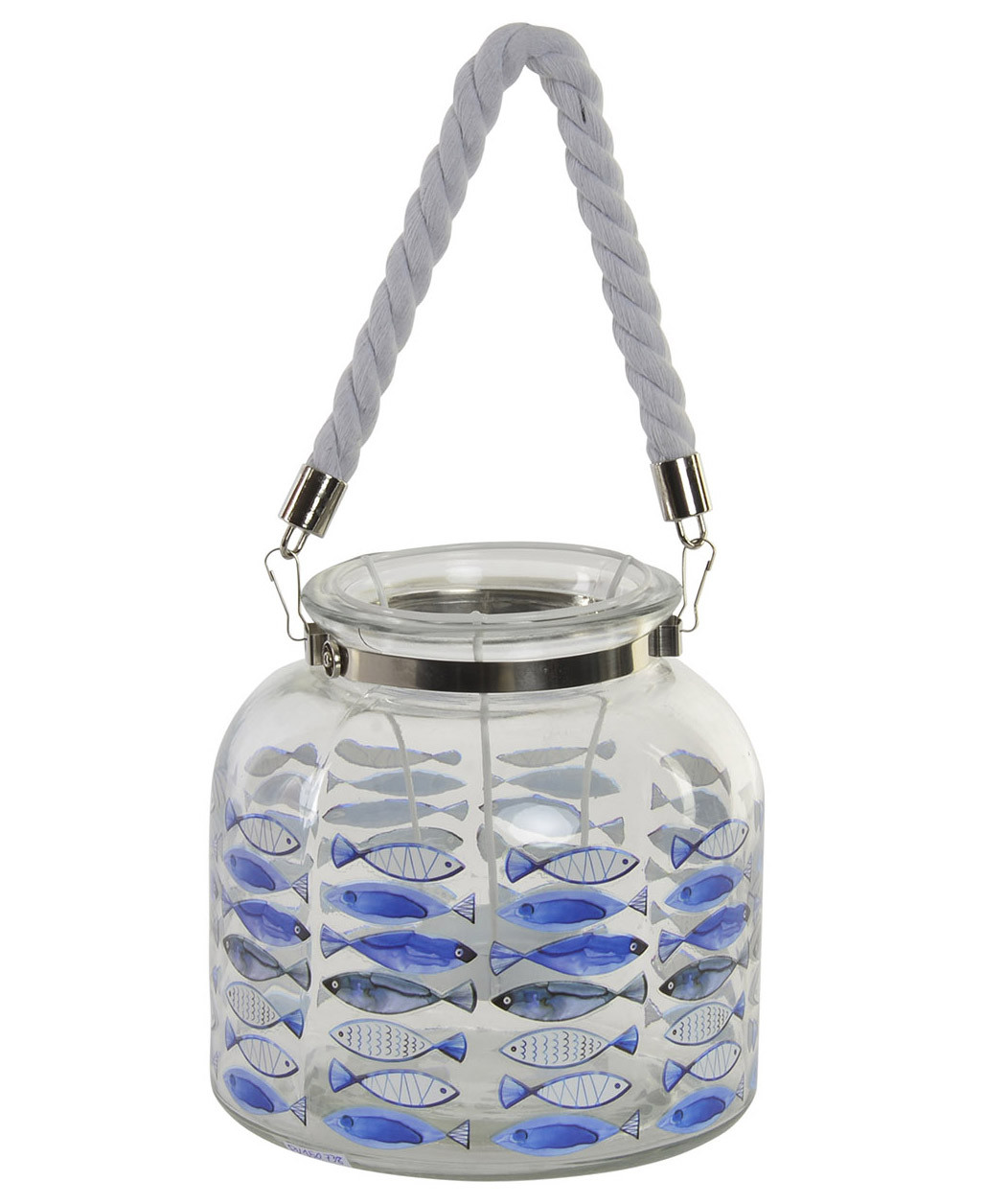 Candle holder glass blue fish for decoration. Design nice and original. 18 x 18 cm - Home and more