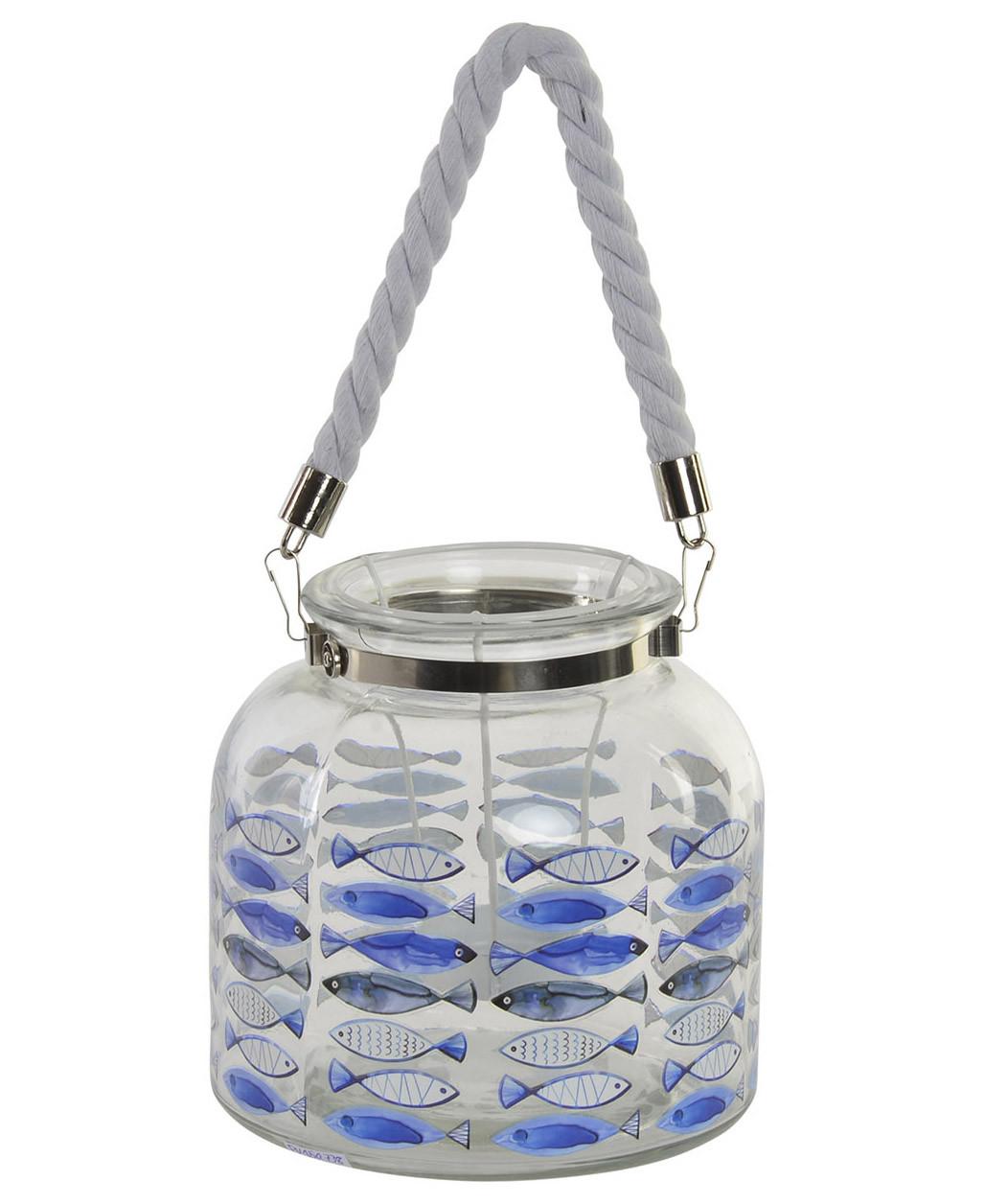 Portavelas de cristal con peces azules para decoración. Diseño simpático y original. 18 x 18 cm - Hogar y más