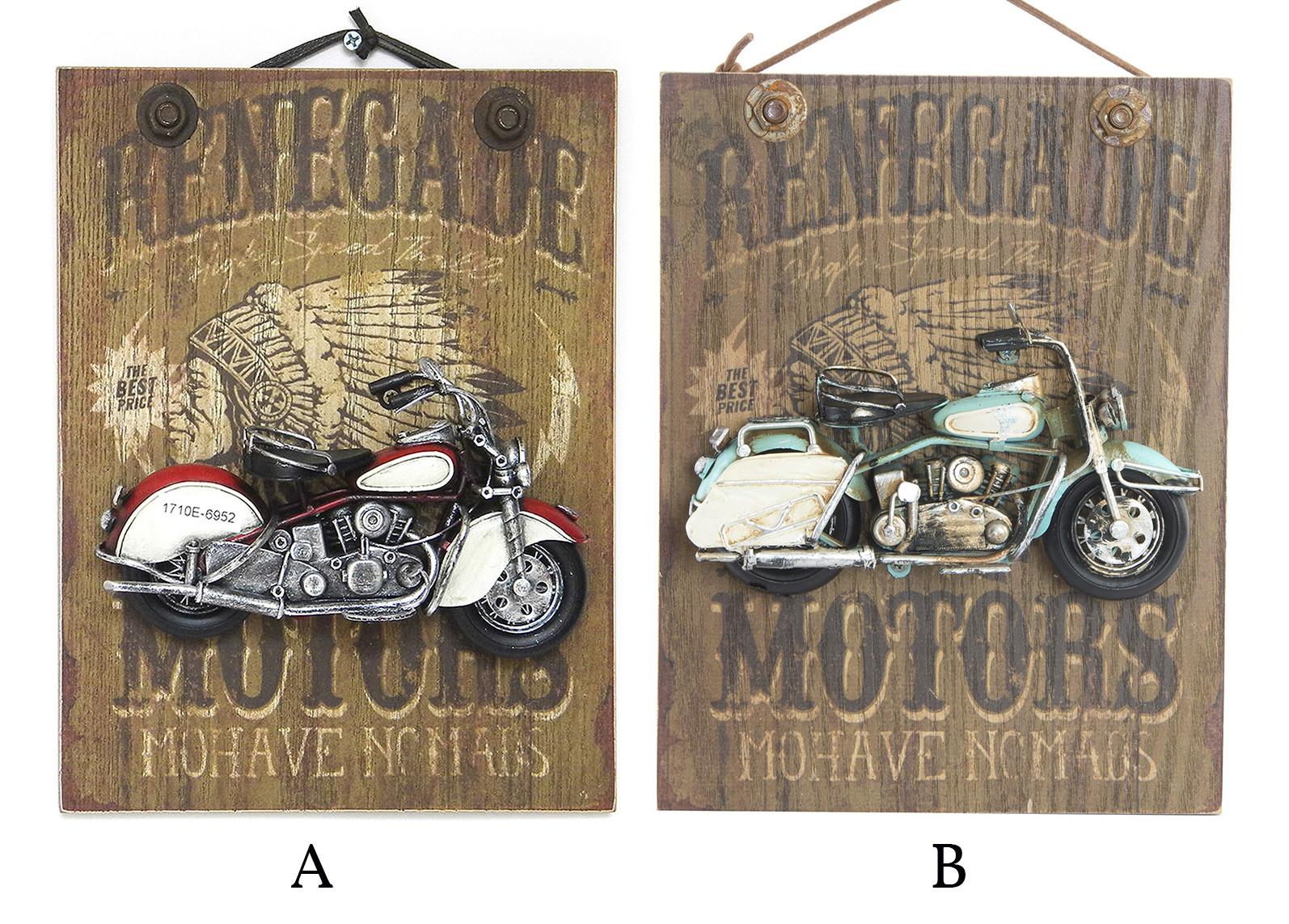 Cuadro de madera decorativo para pared con motos de metal 26 x 20 cm - Renegade - Hogar y más