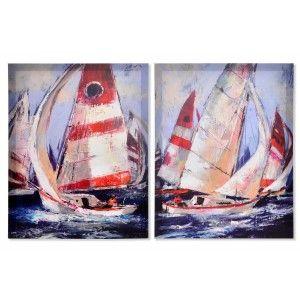 Cuadro decorativo de lienzo con dibujo de un barco de vela. Diseño Navy 40 x 50 cm - Hogar y más