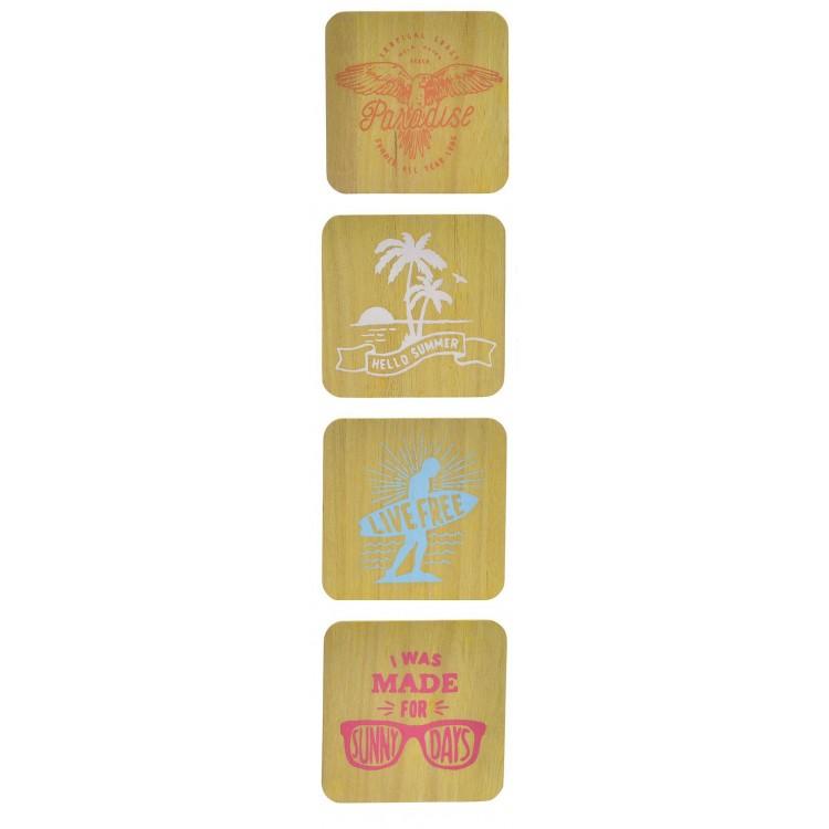 Posavasos original de madera amarillo con diseño motivador Set de 4 Live Summer - Hogar y Mas