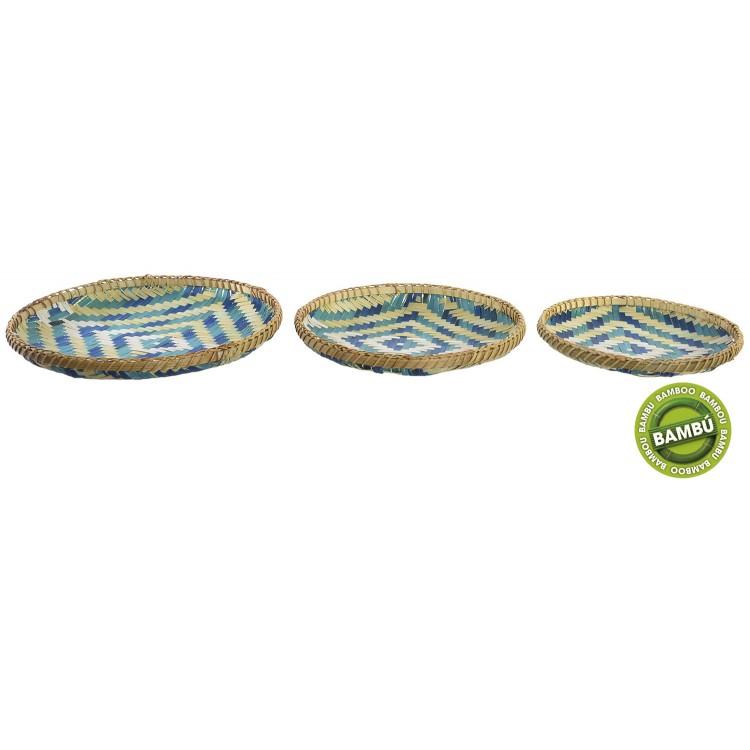 Bandeja Boho Azul de bambú en Set de 3 unidades para decoración - Diseño Natural - Hogar y más
