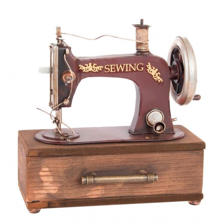 Maquina de coser roja de metal para decoración 23 x 12 cm Diseño realista - Hogar más