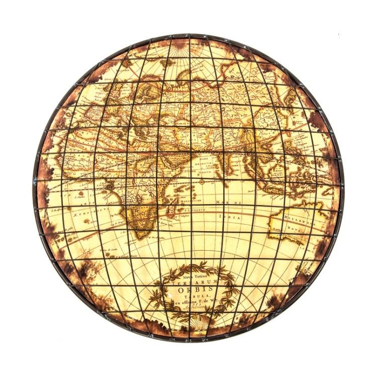 Mapamundi decorativo Vintage de metal de forma redonda - Hogar y Mas