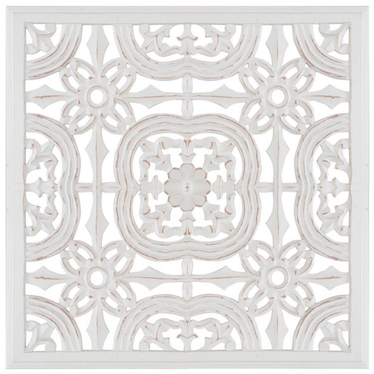 Retablo de madera tallada decorativo Vintage de color blanco 60X60 cm