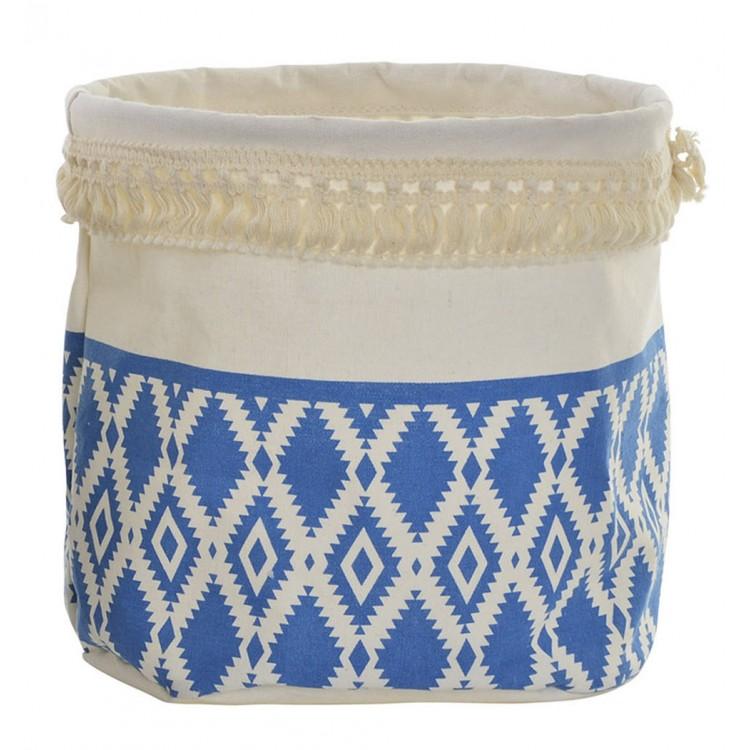 Cesta redonda para almacenaje de color blanco y azul, diseño con flecos - Hogar y Más
