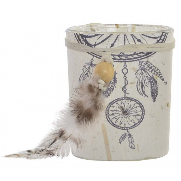 Portavelas Boho de cristal y papel con plumas para decoración. Diseño simpático y original. 7 x 8.5 cm - Hogar y más