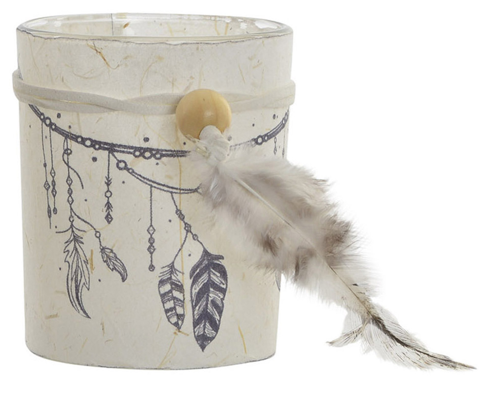 Candle holders Boho glass and paper with feathers for decoration. Design nice and original. 7 x 8.5 cm - Home and more