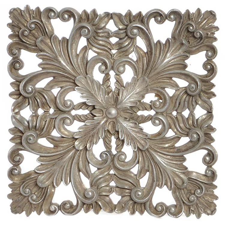 Retablo de resina natural en forma de flor en tonos plateados para pared 26 X 26 CM - Hogar y Mas