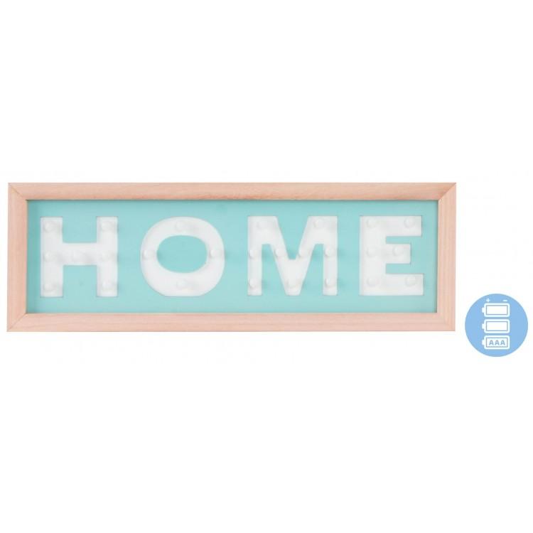 Cartel de madera luminoso para pared de entrada/comedor Azul turquesa. Diseño Original Home 40 x 13.5 cm - Hogar y más