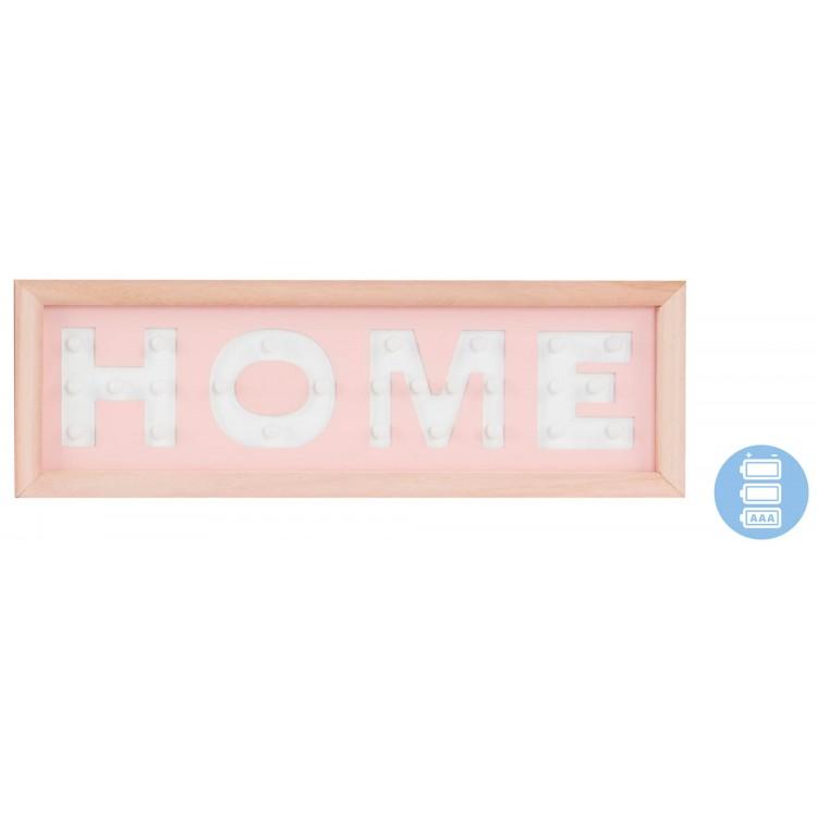 Cartel de madera luminoso para pared de entrada/comedor Rosa claro. Diseño Original Home 40 x 13.5 cm - Hogar y más