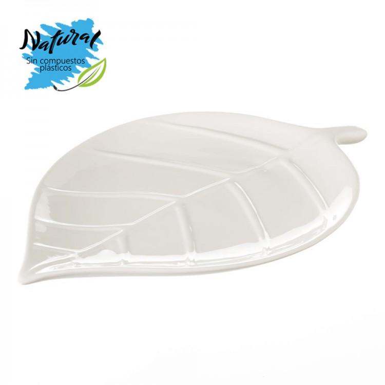Vaciabolsillos de cerámica Natural, color Blanco Perla. Diseño Moderno para las Llaves/ Monedas en forma de hoja - Hogar y Más.