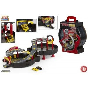 Toy carry Case Garage, Wheel-shaped, with a ramp, a lift and helipad. Design Racing. - Home and More