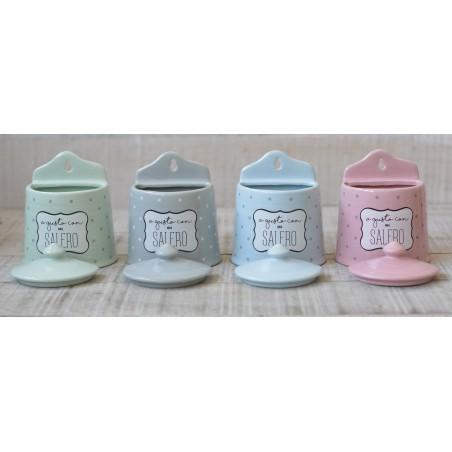 Salero Original de cerámica para la cocina, con frase Divertida y diferentes colores Pastel a elegir.- Hogar y más.