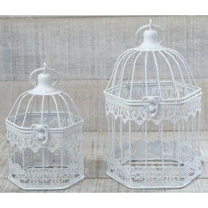 Jaula Decorativa Metálica,  color Blanco Marfil.  Diseño Elegante/Cute - Hogar y Mas