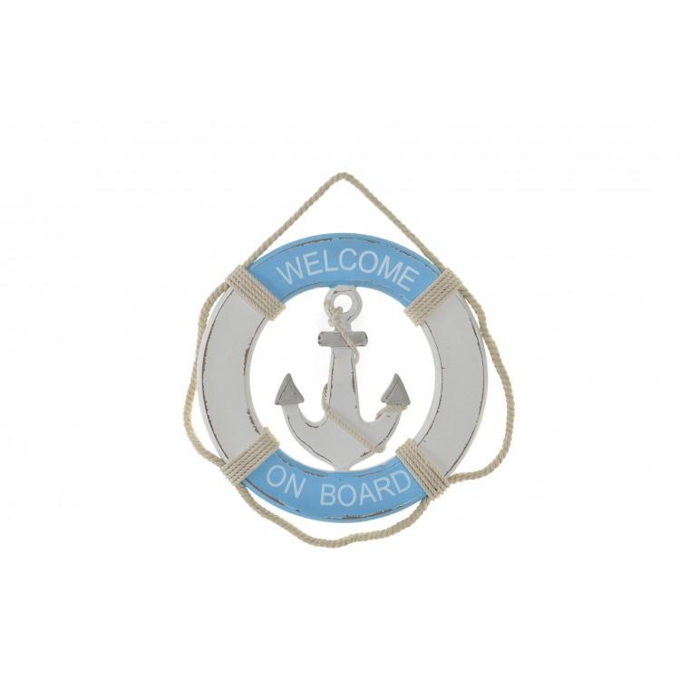 Salvavidas de Madera y Cuerda con Acabado envejecido, color Azul/Blanco, para Decoración de Pared. Diseño Marino - Hogar y Más