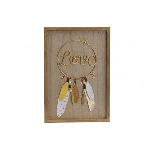 "Decoration Wall Wooden ""LOVE"". Style ethnic/boho with a Design of feathers. (24X1,5X34 CM).-Home and more-"
