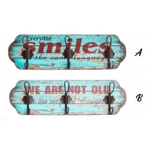 Coat rack Wall, Natural Wood, with a distressed finish. Design of Tables, stylish Surfer, for Entrance - Home and More
