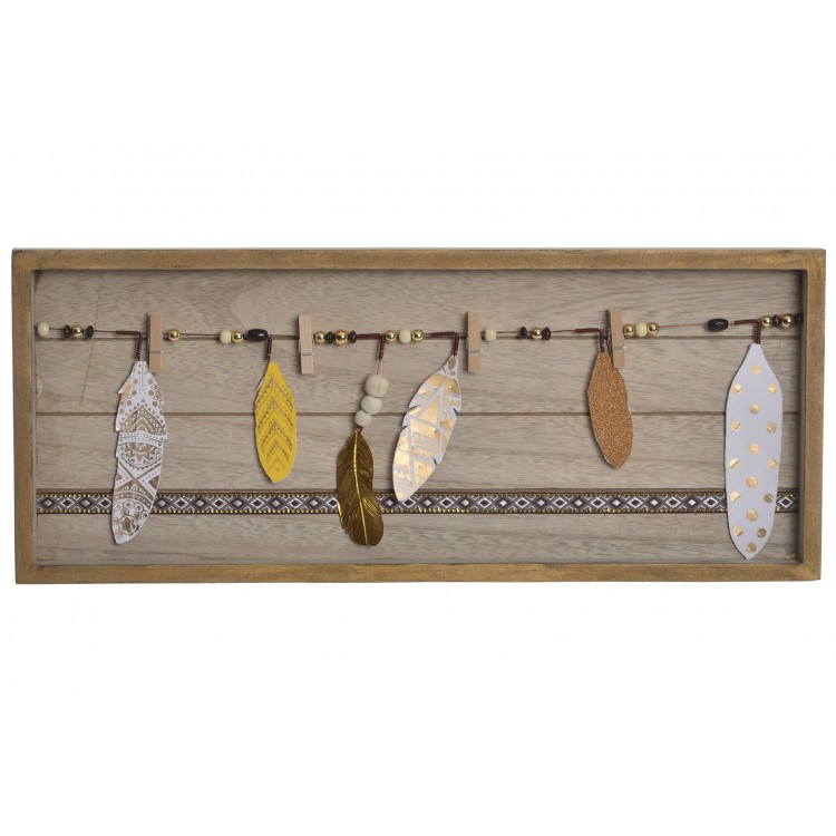 Original Portafotos de Pared con accesorios de Plumas. Étinico/Boho. (48X2,5X20 CM).-Hogarymas-