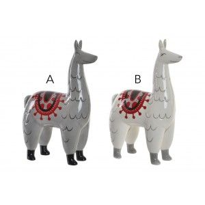 Figura de Llama, hecho de Dolomite, en Blanco o Gris. Diseño Animal, con estilo Sudamericano, para Salón/Recibidor - Hogar y Más