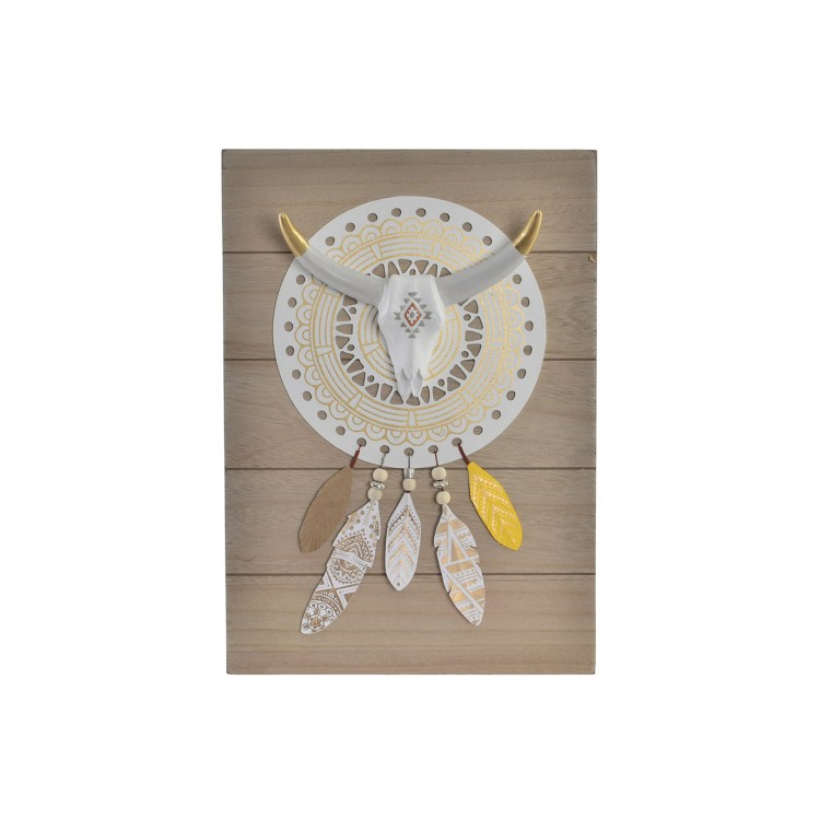 Cranéo de Toro de Resina para Pared en Madera, decoración con plumas/ Étnico. 27X7X38 CM.-Hogarymas-