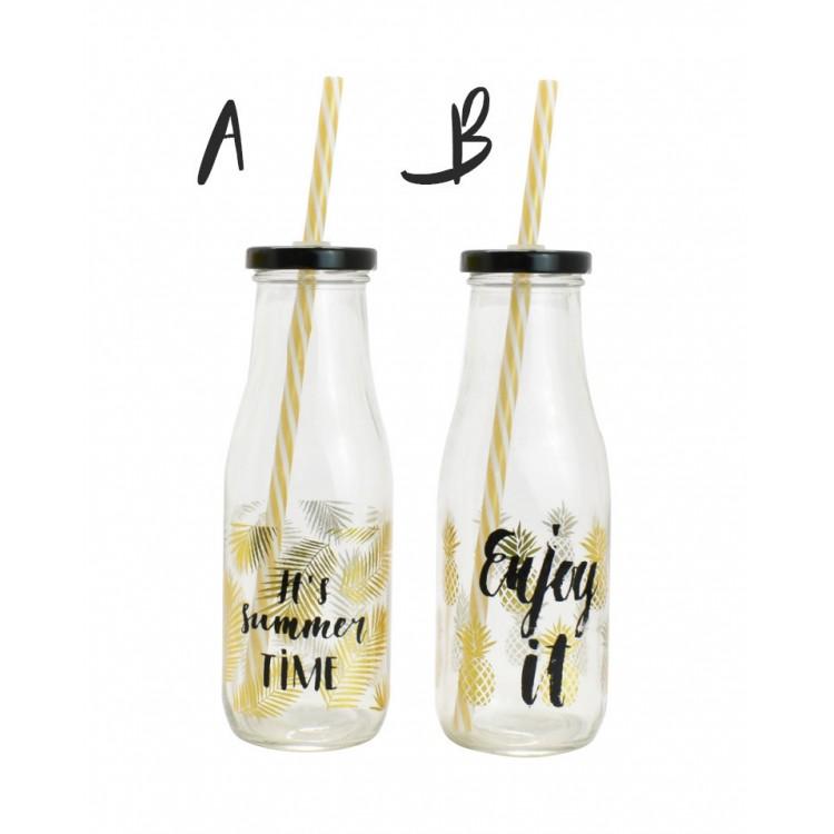 Original Botella de Cristal con Pajita. Edición Summer. Ideal para la playa/piscina. Moderna/Original. (450 ML).-Hogarymas-