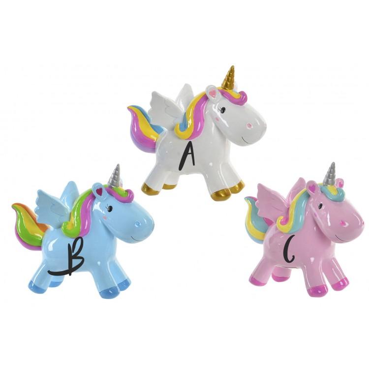 Huchas de Resina Infantil. Diseño de Unicornio en distintos colores, a elegir. (18X6,5X15,5 CM).-Hogarymas-