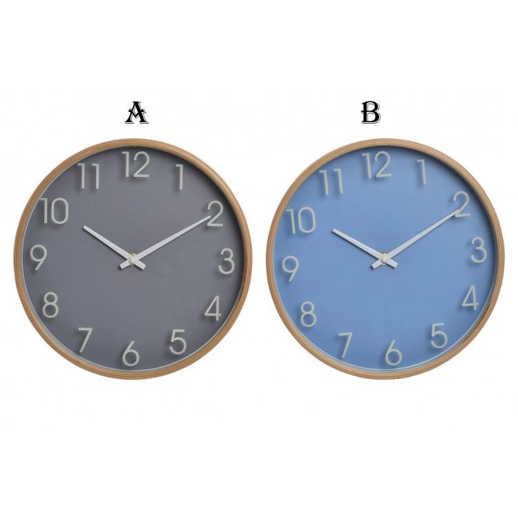 Surtido de 2 Relojes de Pared a elegir (A) y (B), en madera (25,5X4,5X25,5 CM).-Hogarymas-