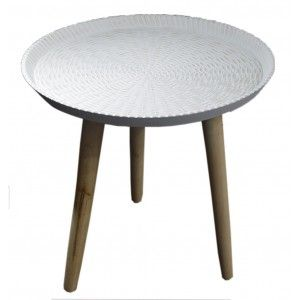 Circular side table, White Polychrome. Style Positive - Home and More