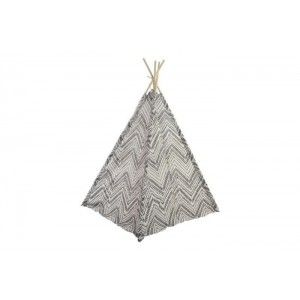 Tipi-Black and White Cotton and Wooden, Ethnic Style with black lines in geometric shapes. 161X120X162 CM.-Hogarymas-