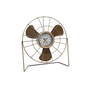 Clock Desktop of Metal in the shape of a Fan, Original Design/Vintage. Ideal to Decorate your home 33X12X35,5 CM.-Hogarymas-