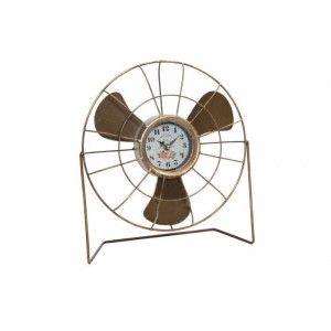 Reloj Sobremesa de Metal con forma de Ventilador, Diseño Original/Vintage. Ideal para Decorar tu hogar 33X12X35,5 CM.-Hogarymas-